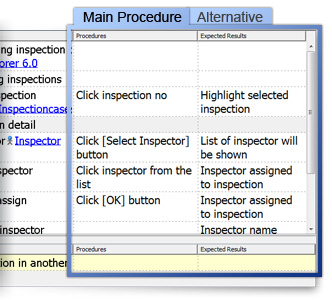 Testing procedures dialog box