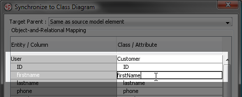 Entity column to class attribute mapping table